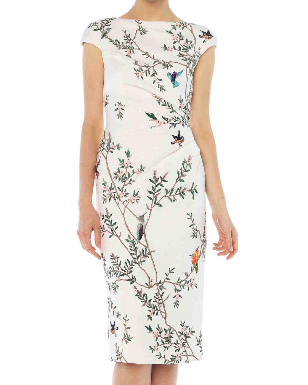White Branch and Bird Print Dress