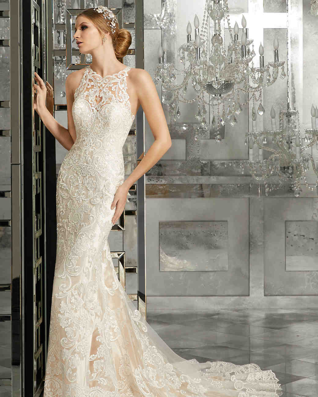 Morilee Wedding Dress Spring 2018 High Neck Embroidered Sheath
