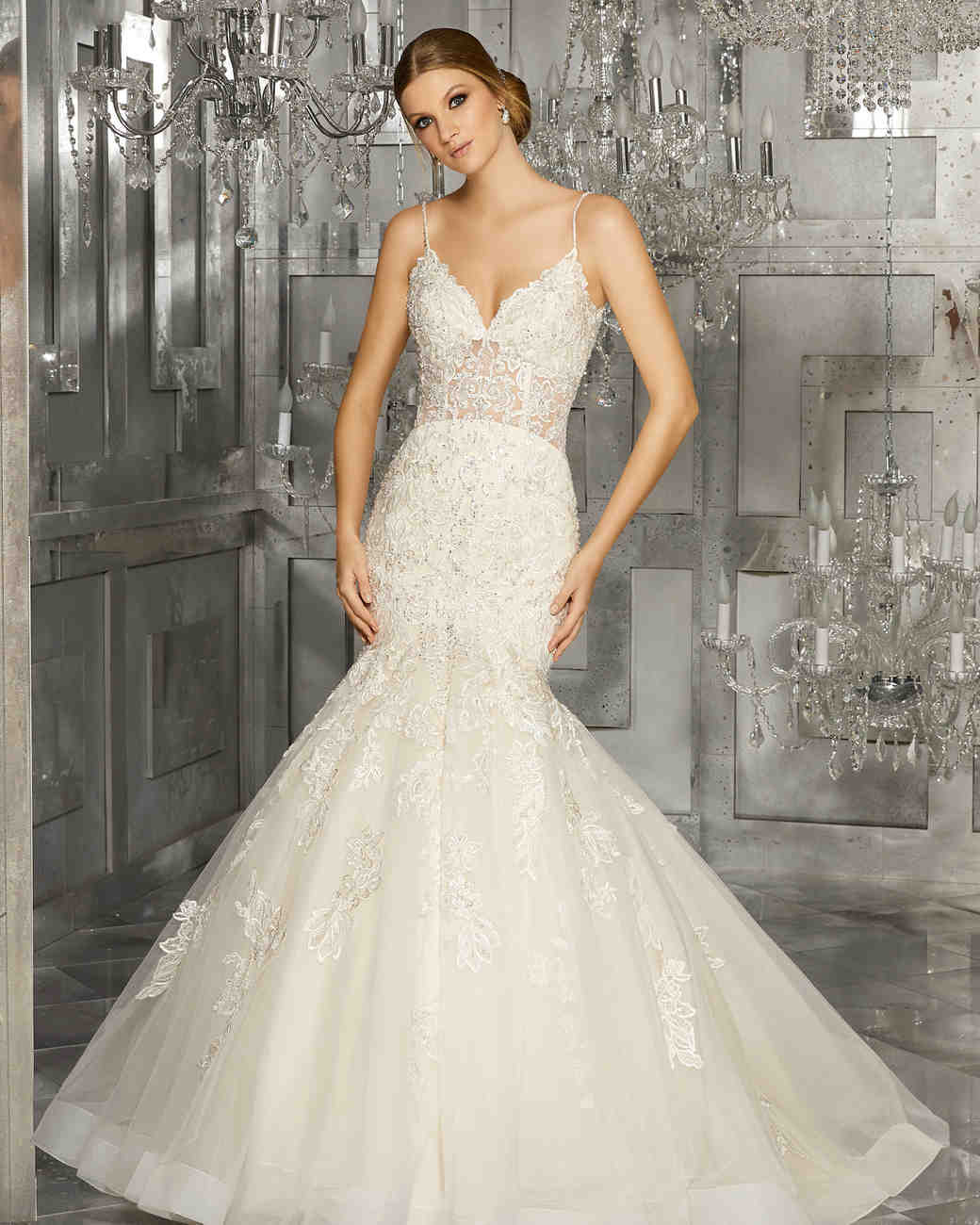 morilee wedding dress spring 2018 spaghetti strap mermaid