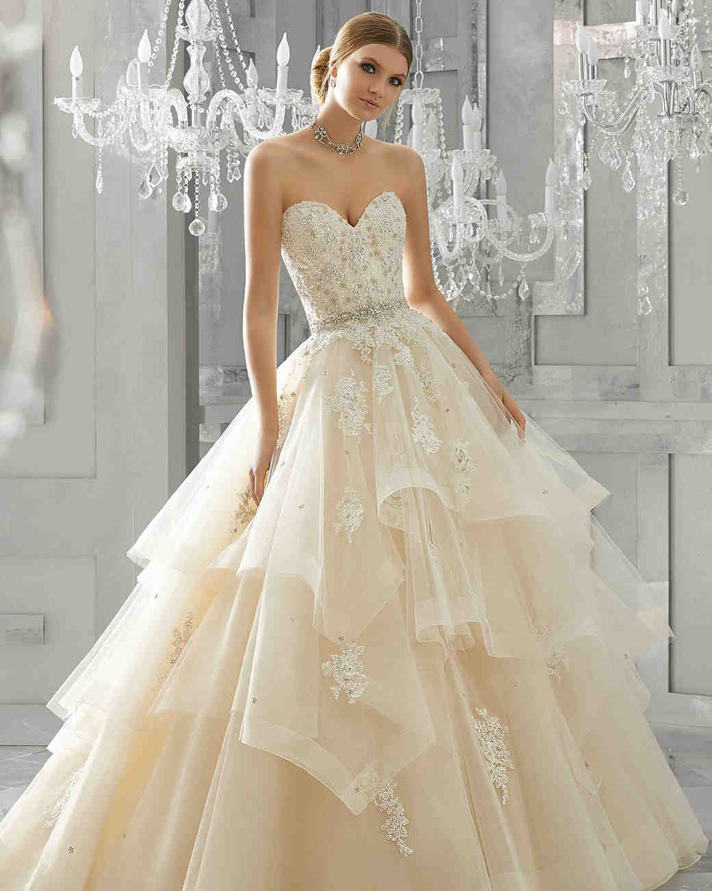 morilee wedding dress spring 2018 sweetheart tiered ballgown