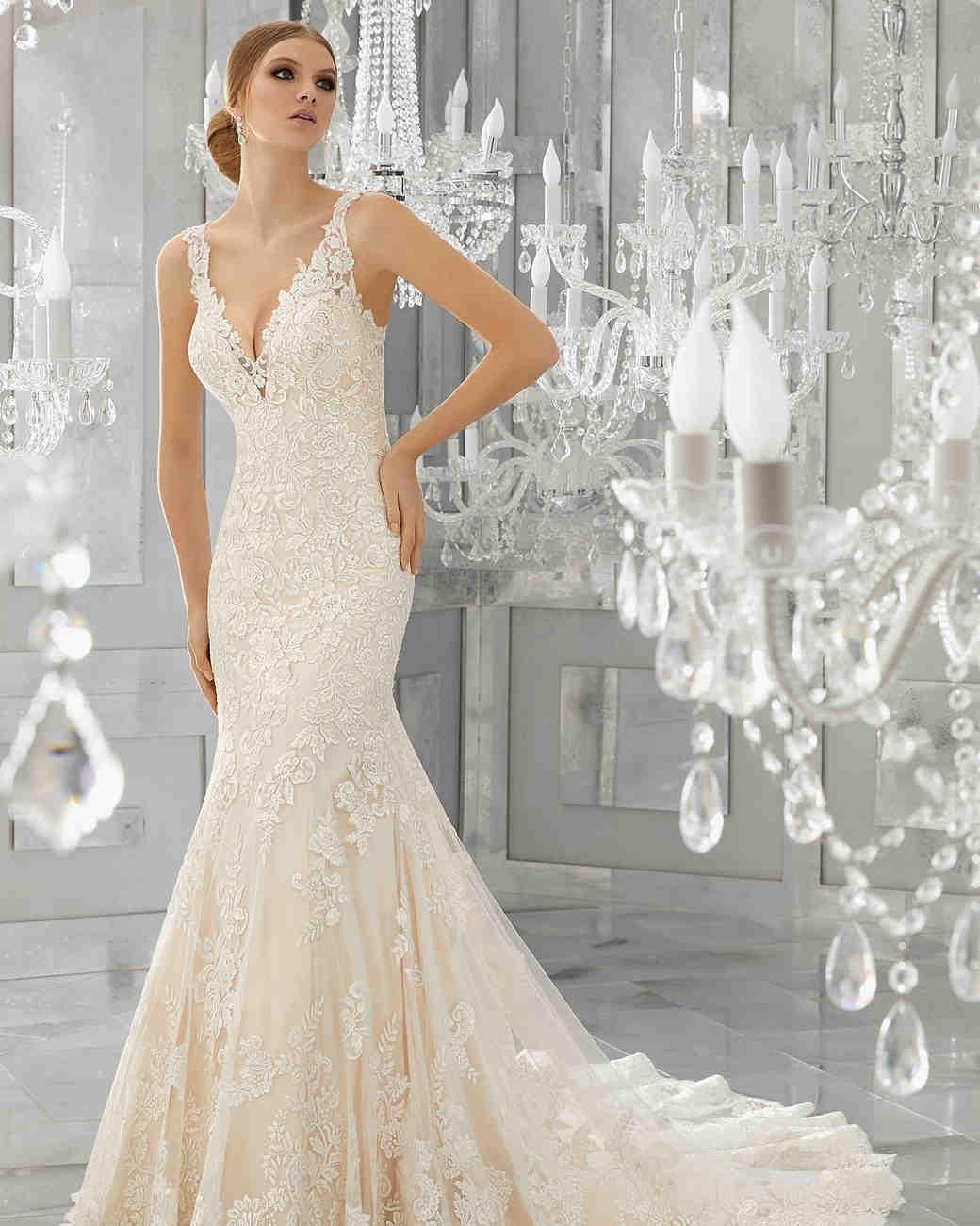 morilee wedding dress spring 2018 plunging v-neck lace trumpet