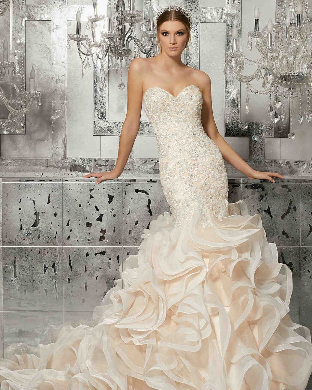 morilee wedding dress spring 2018 sweetheart blush ruffle mermaid