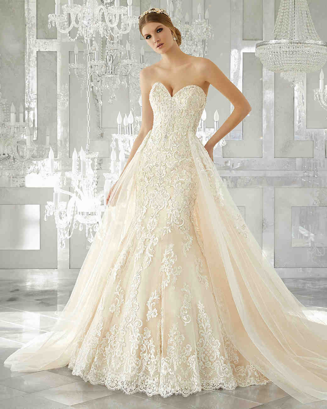 morilee wedding dress spring 2018 sweetheart trumpet overlay
