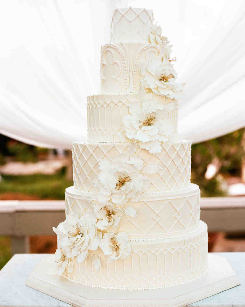 32 amazing wedding cakes you have to see to believe martha stewart detailed all white cake junglespirit Images