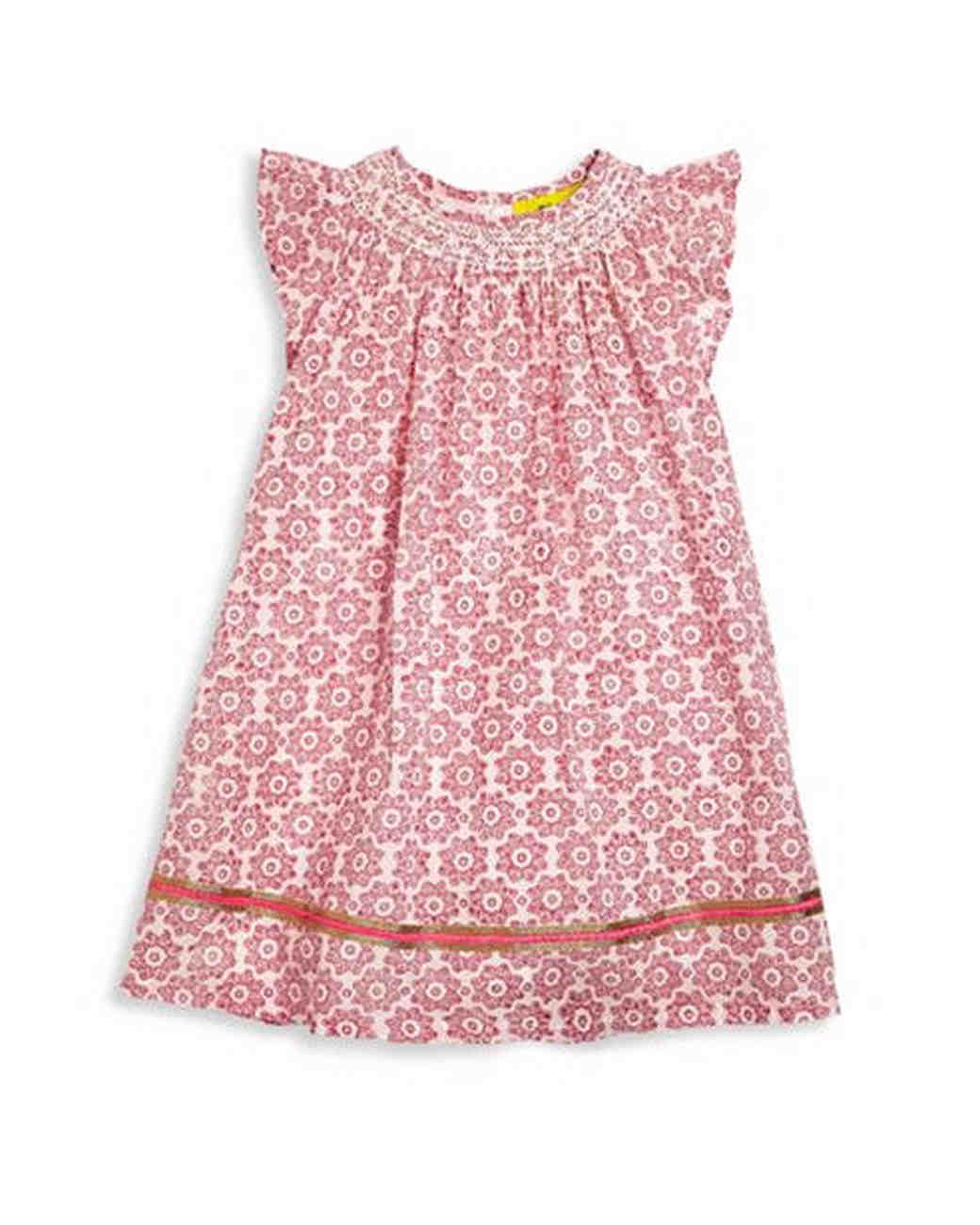 pink patterned flower girl dress