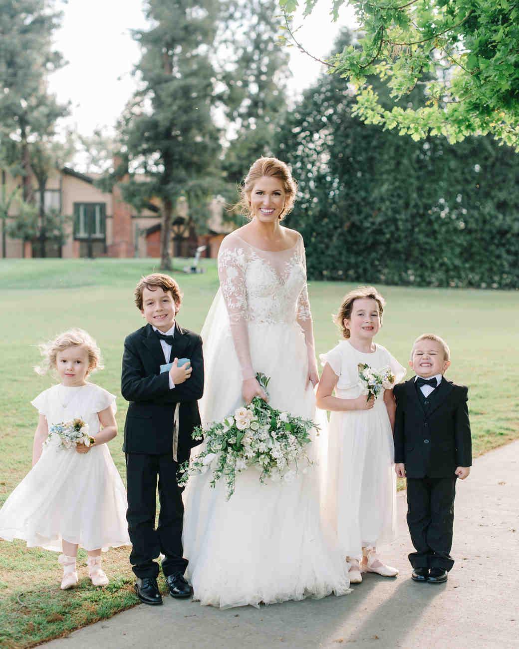 wedding kids with bride