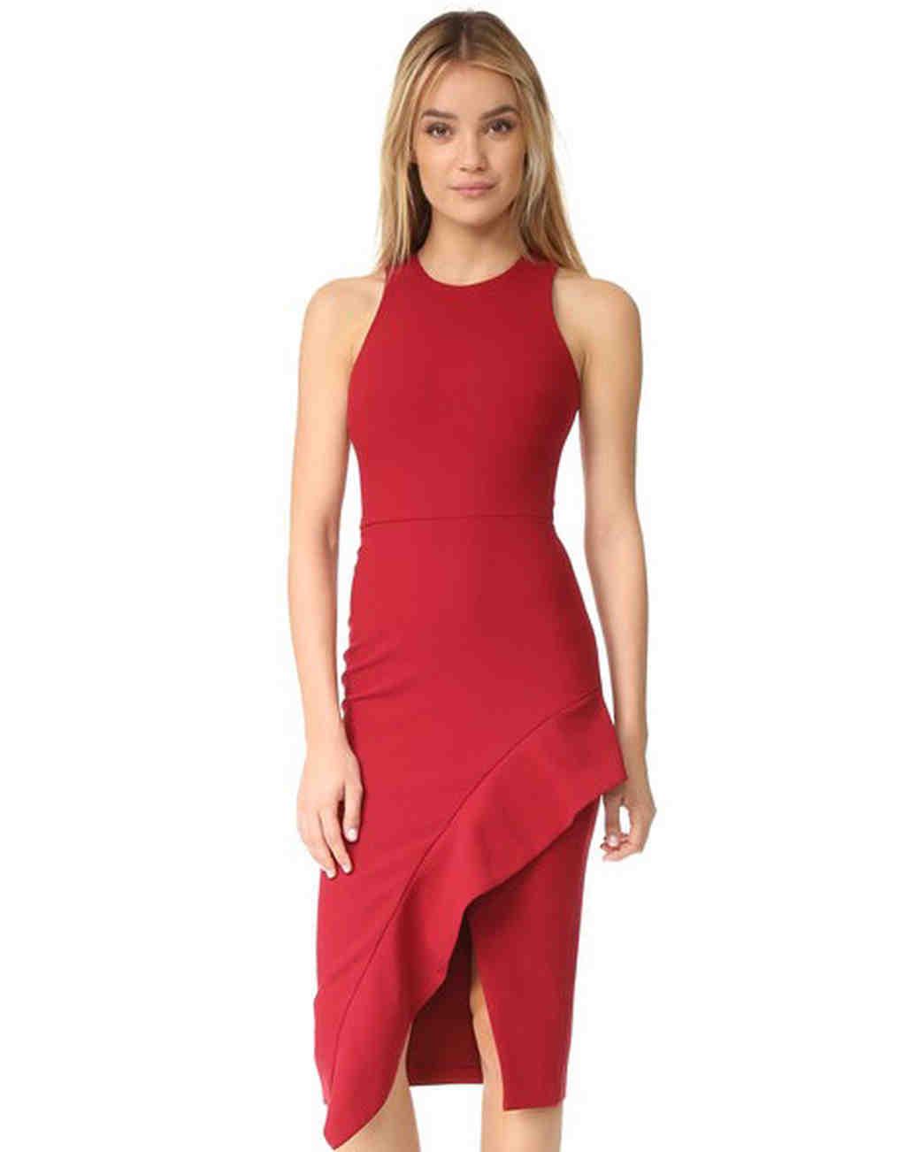 red bridesmaid dress cinq a sept piper