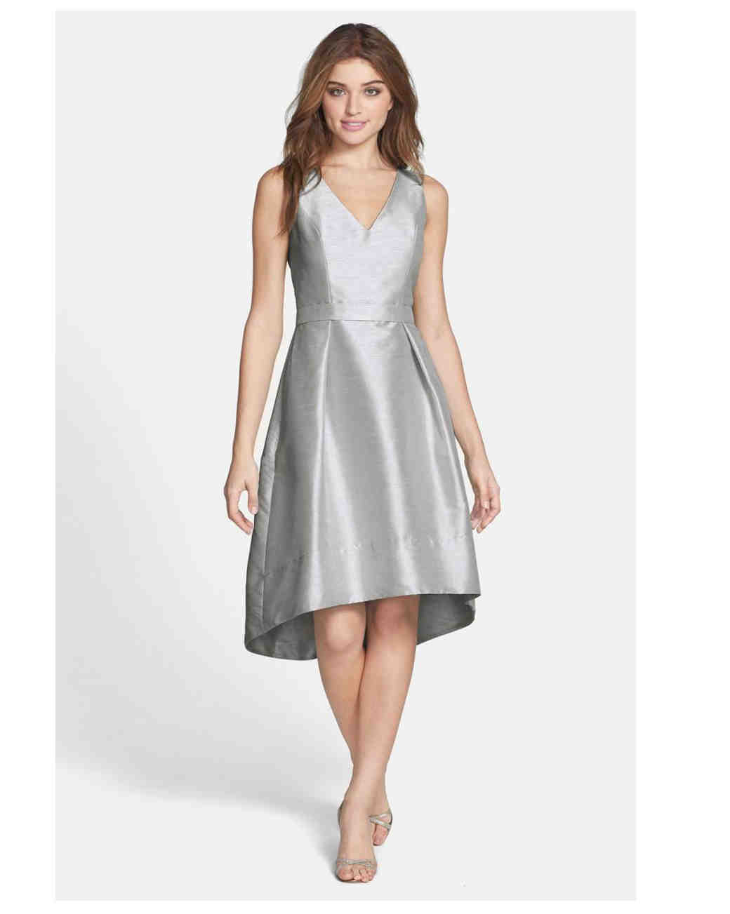 short bridesmaid dresses alfred sung satin flare