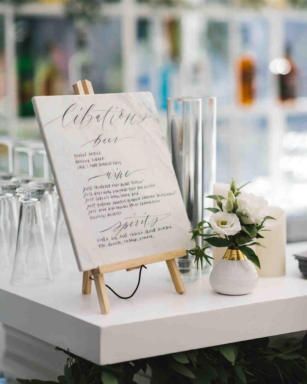 marble drink menu on white bar top