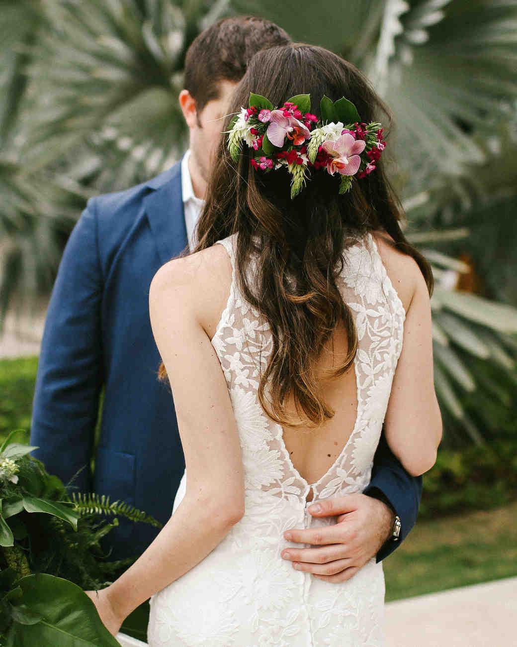 tropical wedding bride orchid headpiece crown
