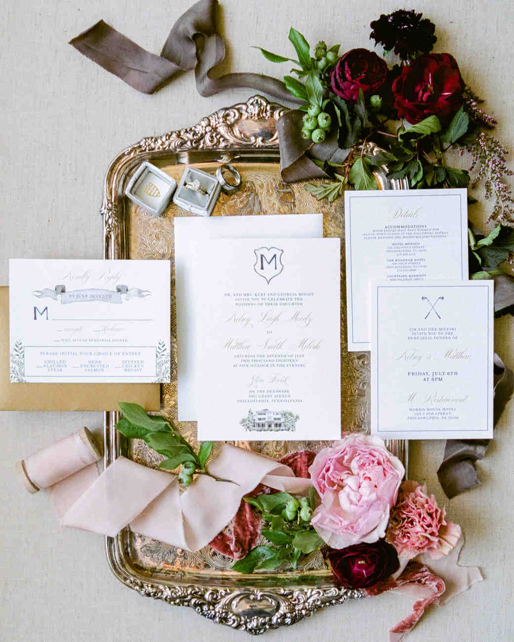 white vintage invite with monogram