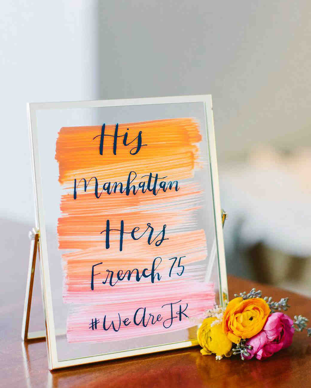 wedding bar sign his hers cocktails orange pink
