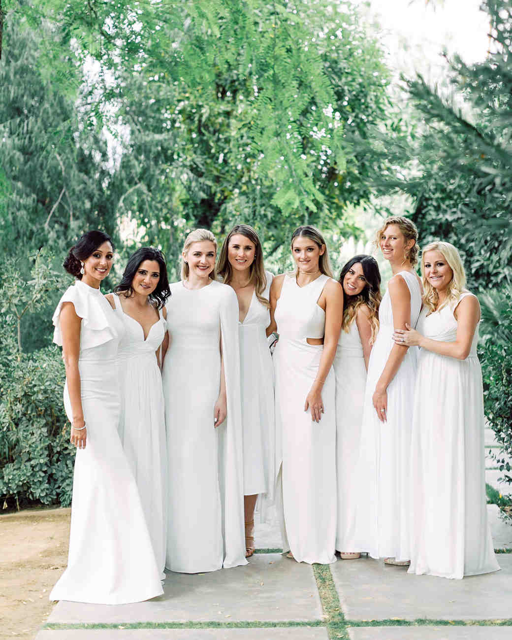 White Bridesmaids Dresses | 26 Chic Bridal Parties Wearing All White Dresses Martha Stewart