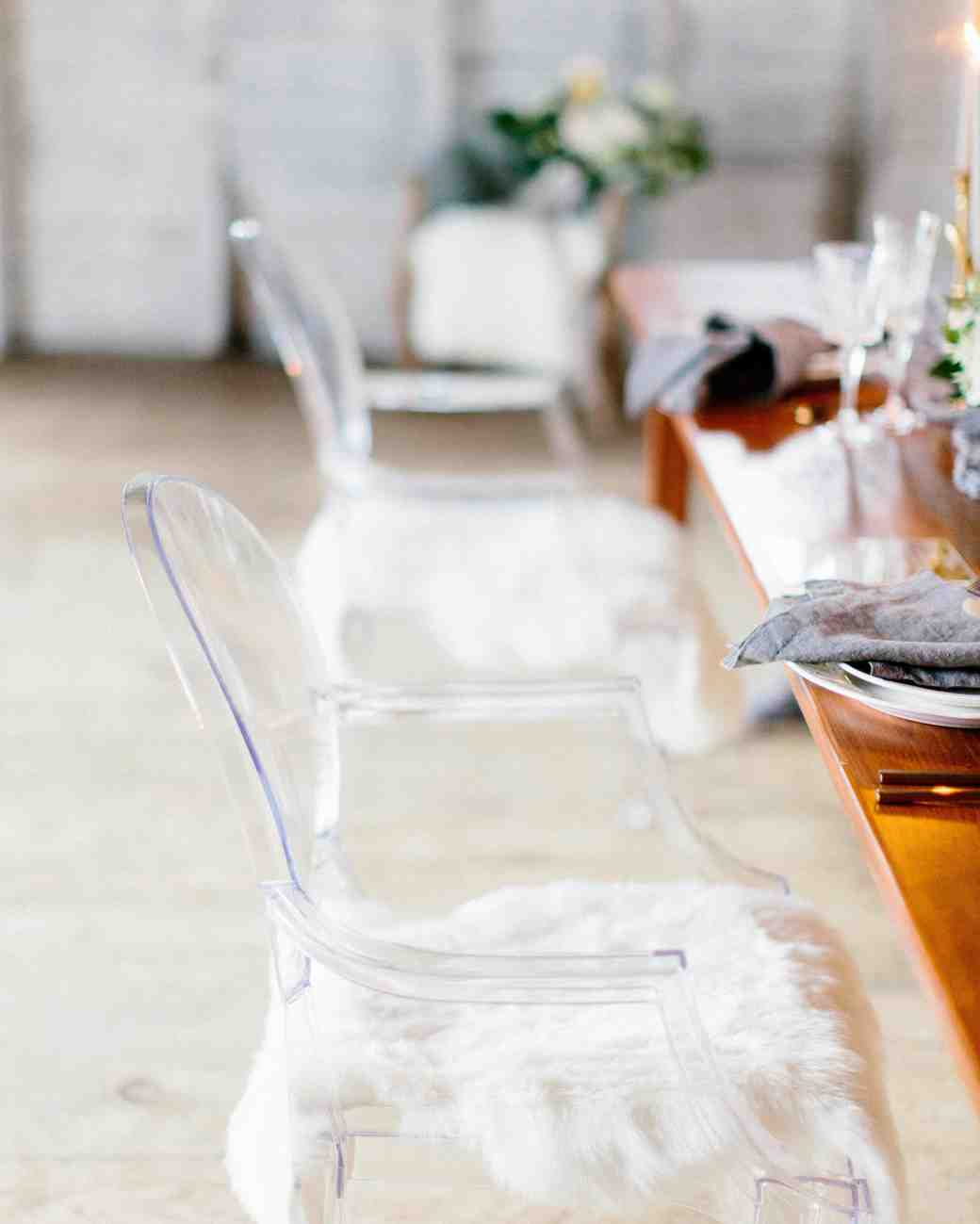 winter rehearsal dinner chic faux fur with celebration chairs
