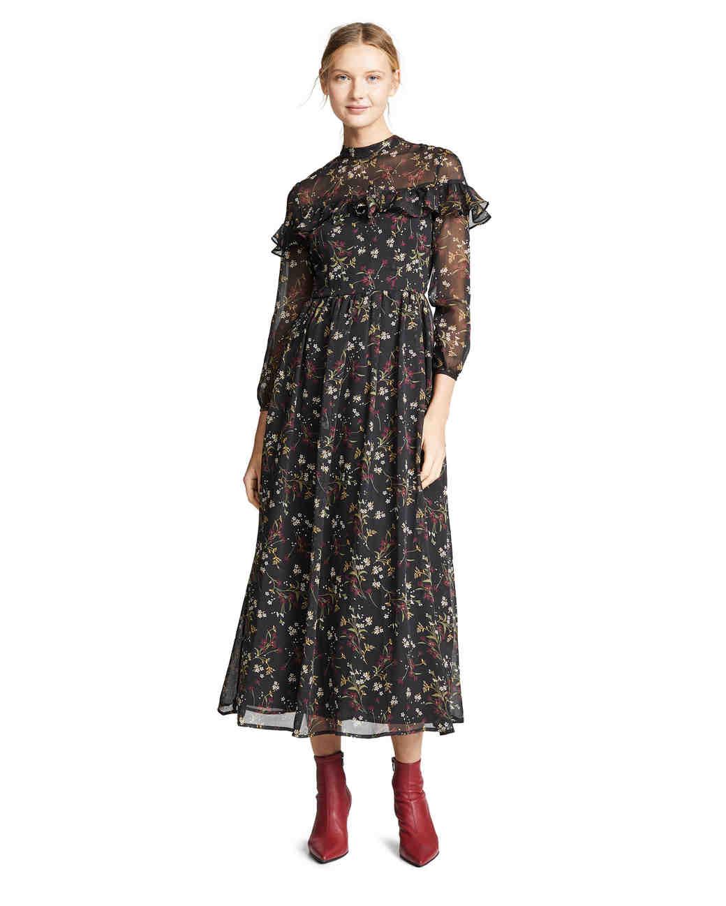 long floral bb dakota dress with ruffle