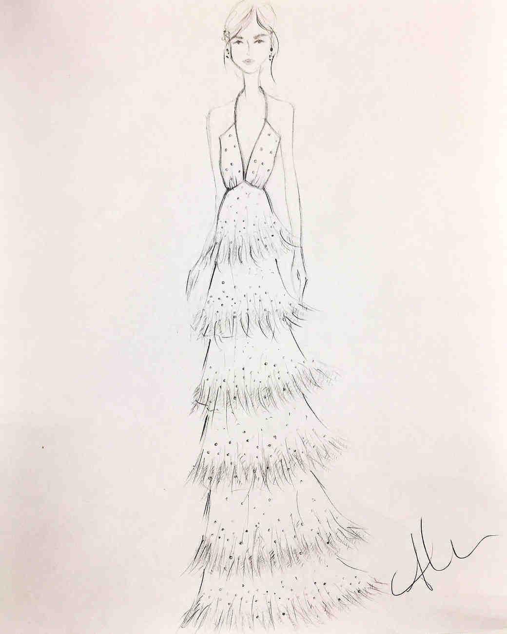 alexandra grecco wedding dress sketch