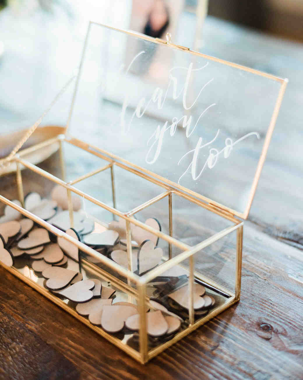 guest book hearts glass box