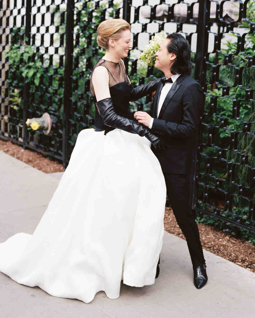 Black And White Wedding Dress With Netted Neckline