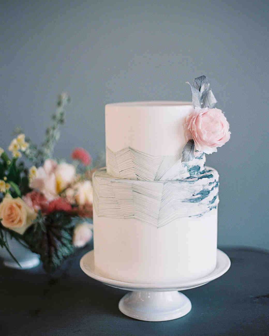 Wedding Cake with Geometric Blue Details