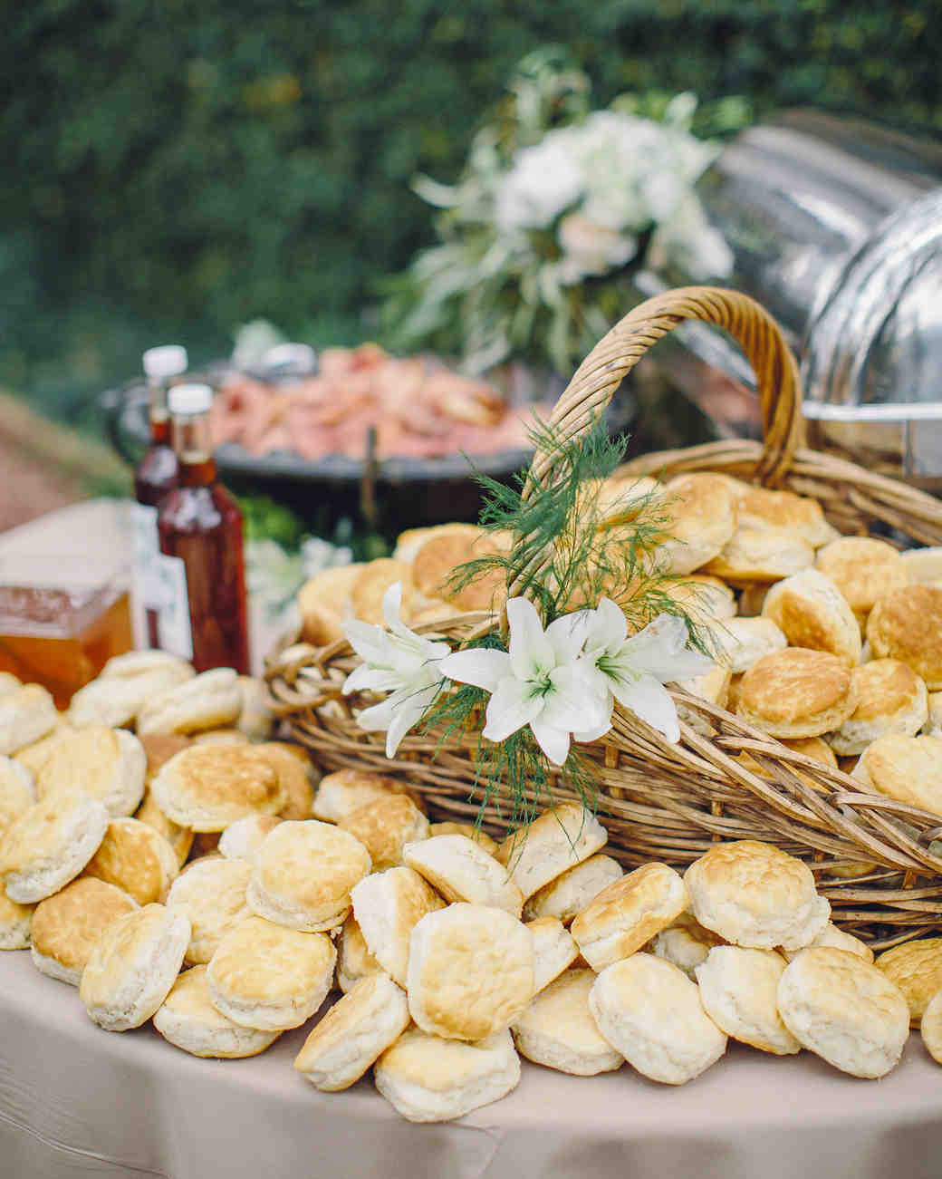 flaky biscuits wicker basket and table