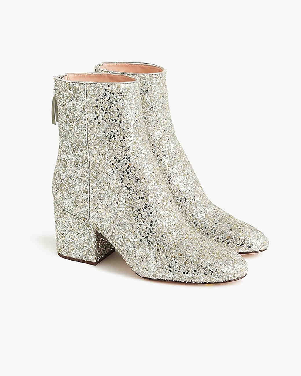 sparkly golden bridal booties j crew sadie ankle boot