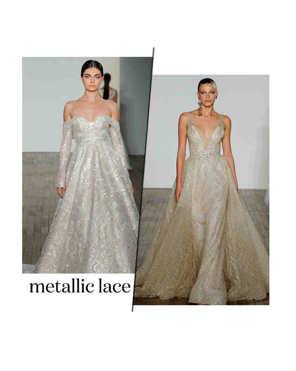 fall 2019 bridal fashion week trends metallic lace