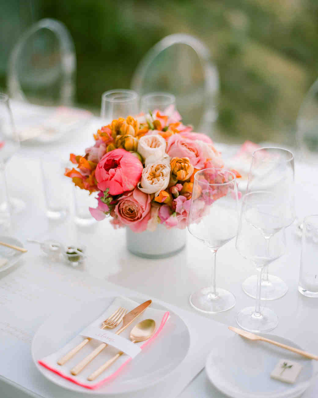 bridal shower centerpiece with pink peonies