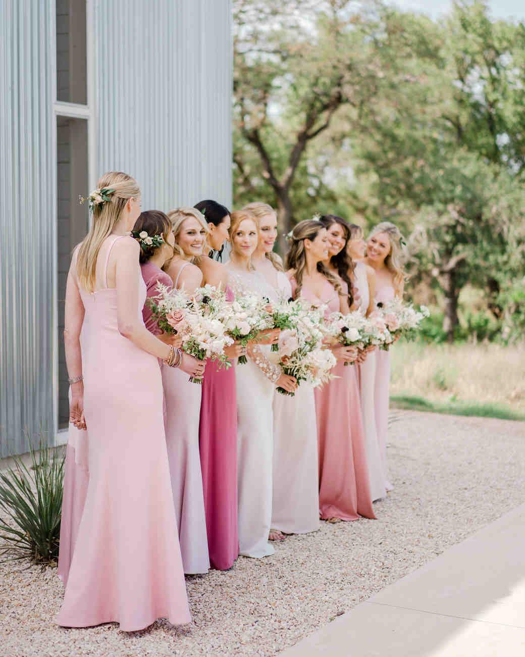 brittany peter wedding bridesmaids in pink dresses