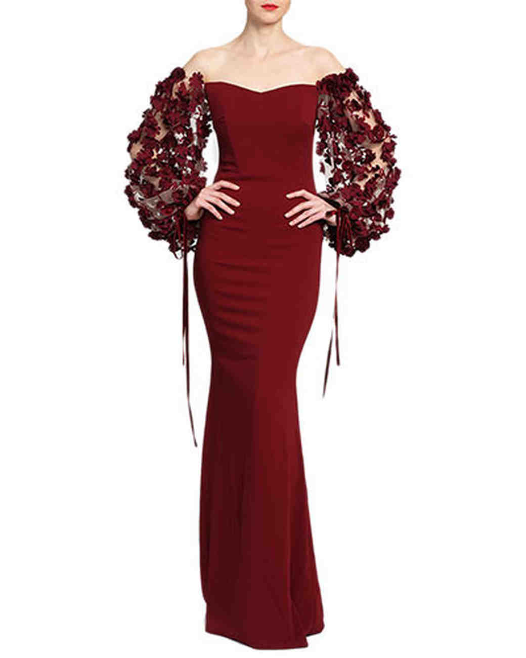 burgundy floral sleeve gown