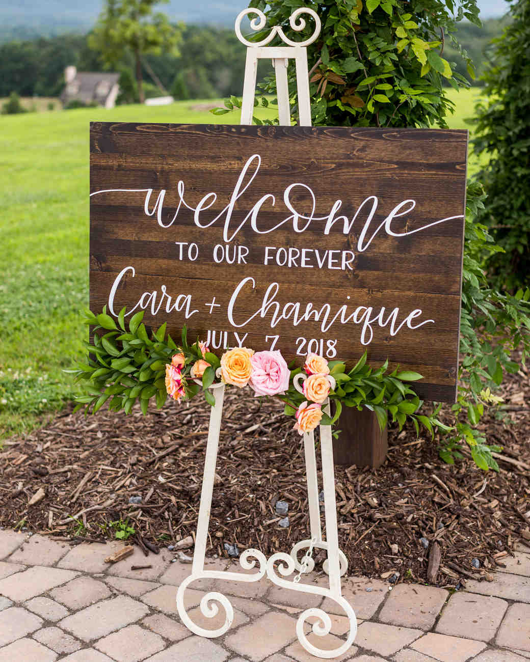 cara chamique wedding welcome sign