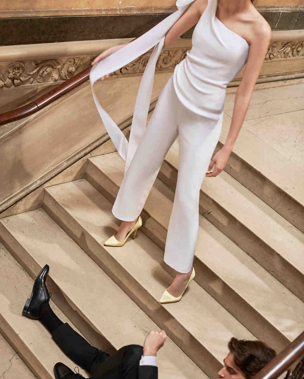 Carolina Herrera wedding dress spring 2019 one-shoulder jumpsuit with ribbons