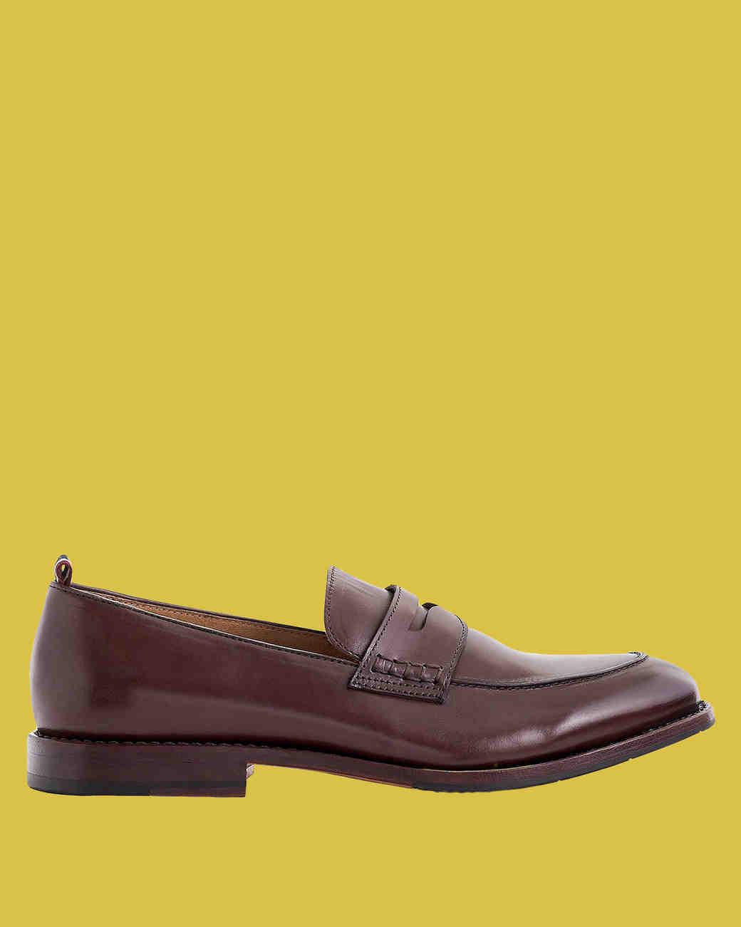 """J. Crew """"Oar Stripe"""" Penny Loafers in Italian Leather"""