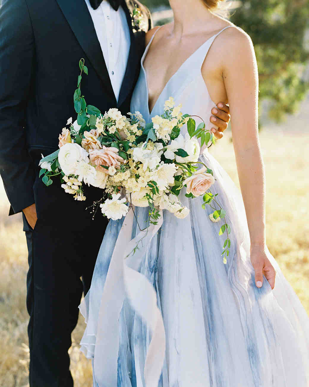 light blue wedding dress with water color