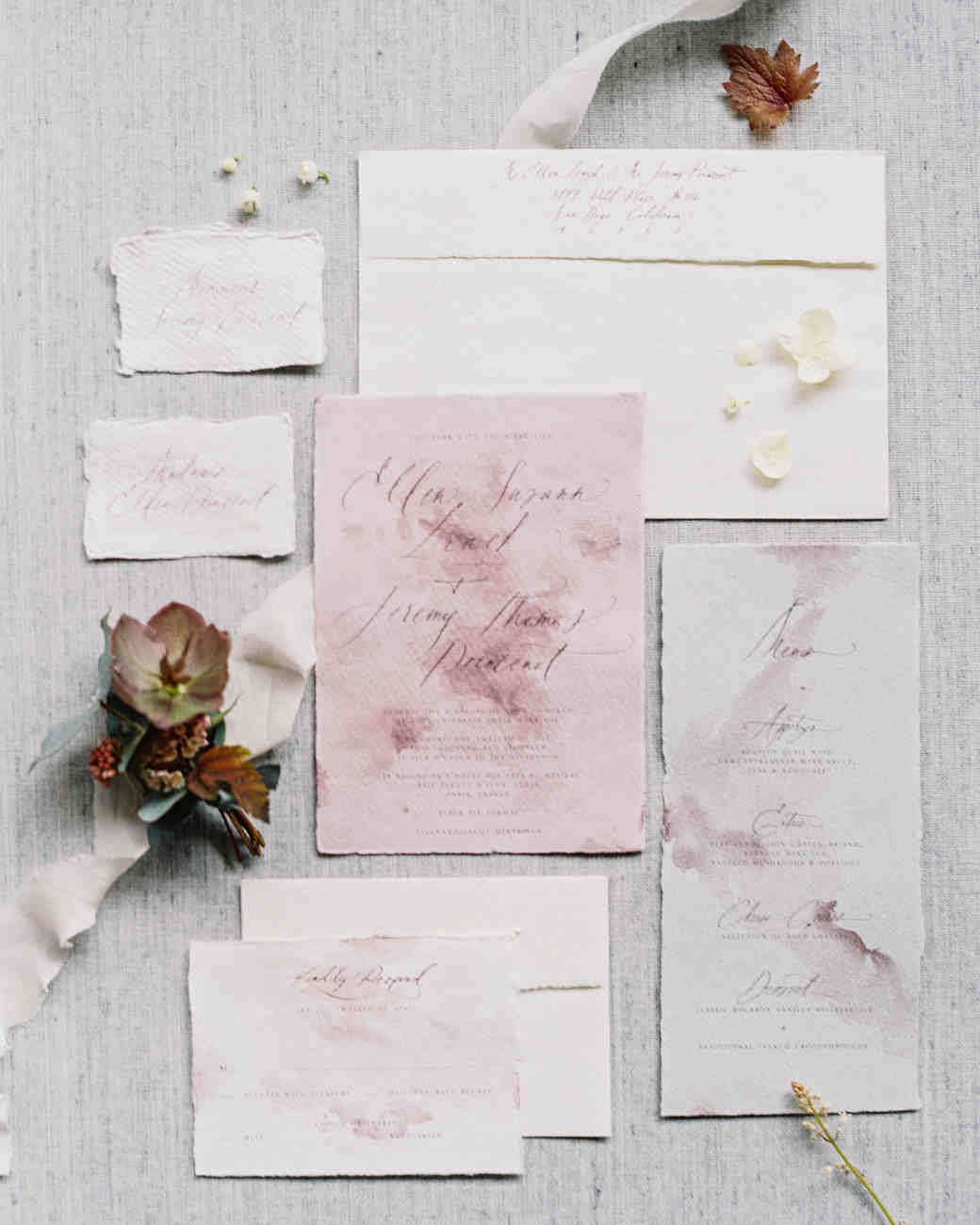 mauve watercolor stationary suite