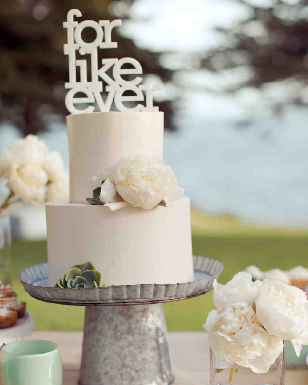 "White Wedding Cake with White Peony and ""For Like Ever"" Topper"