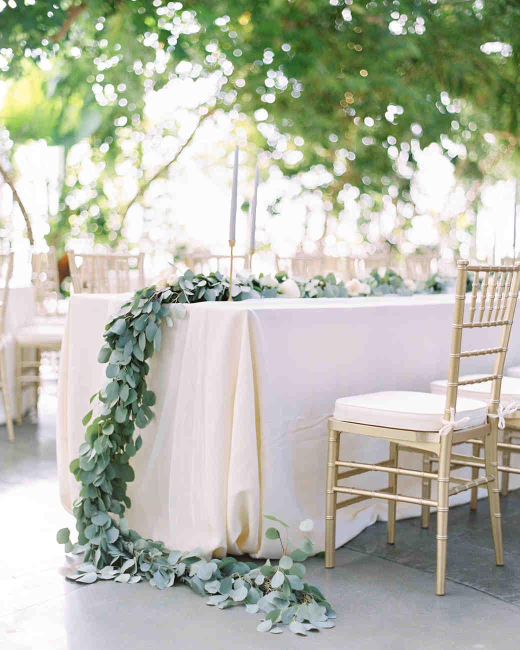 eucalyptus garland table centerpiece