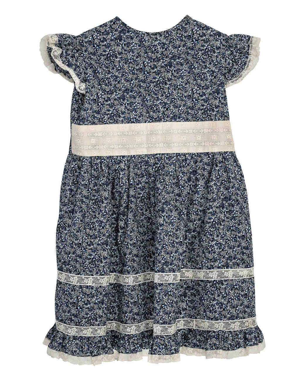 dark blue floral flower girl dress