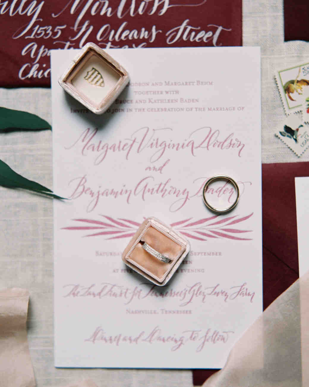pink and red wedding stationery