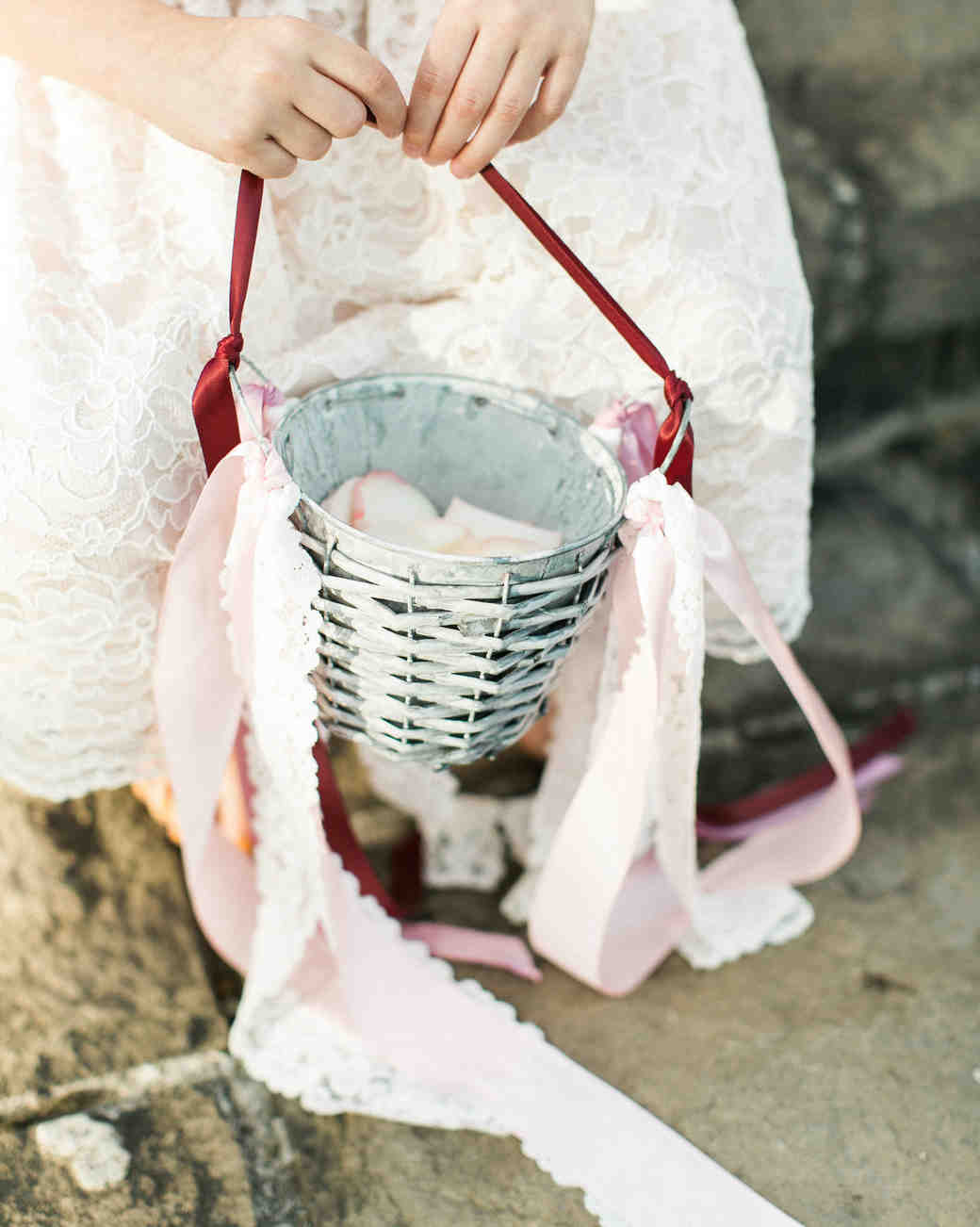 metal and wicker bucket with ribbons