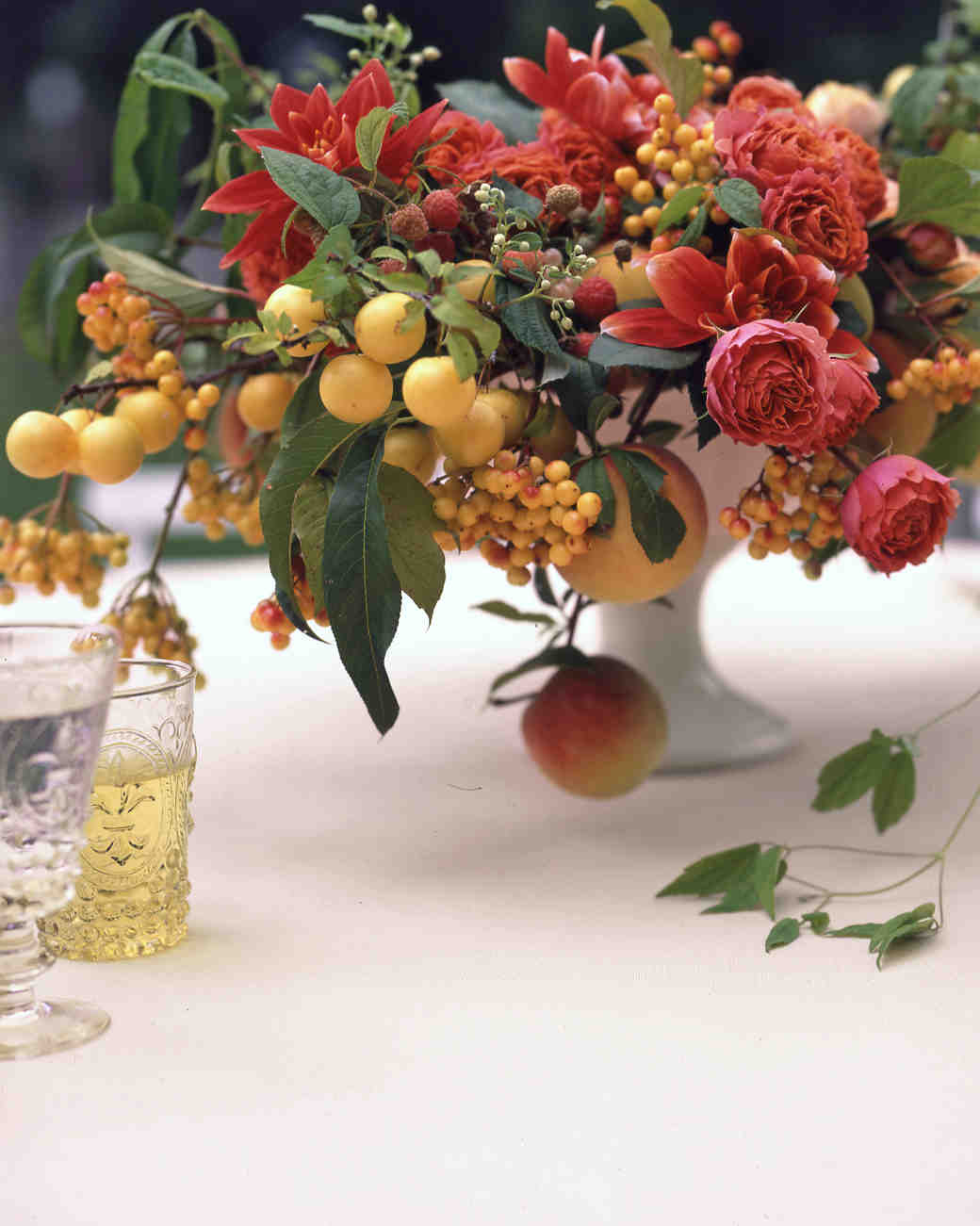Lush Fruit and Flower Wedding Centerpiece
