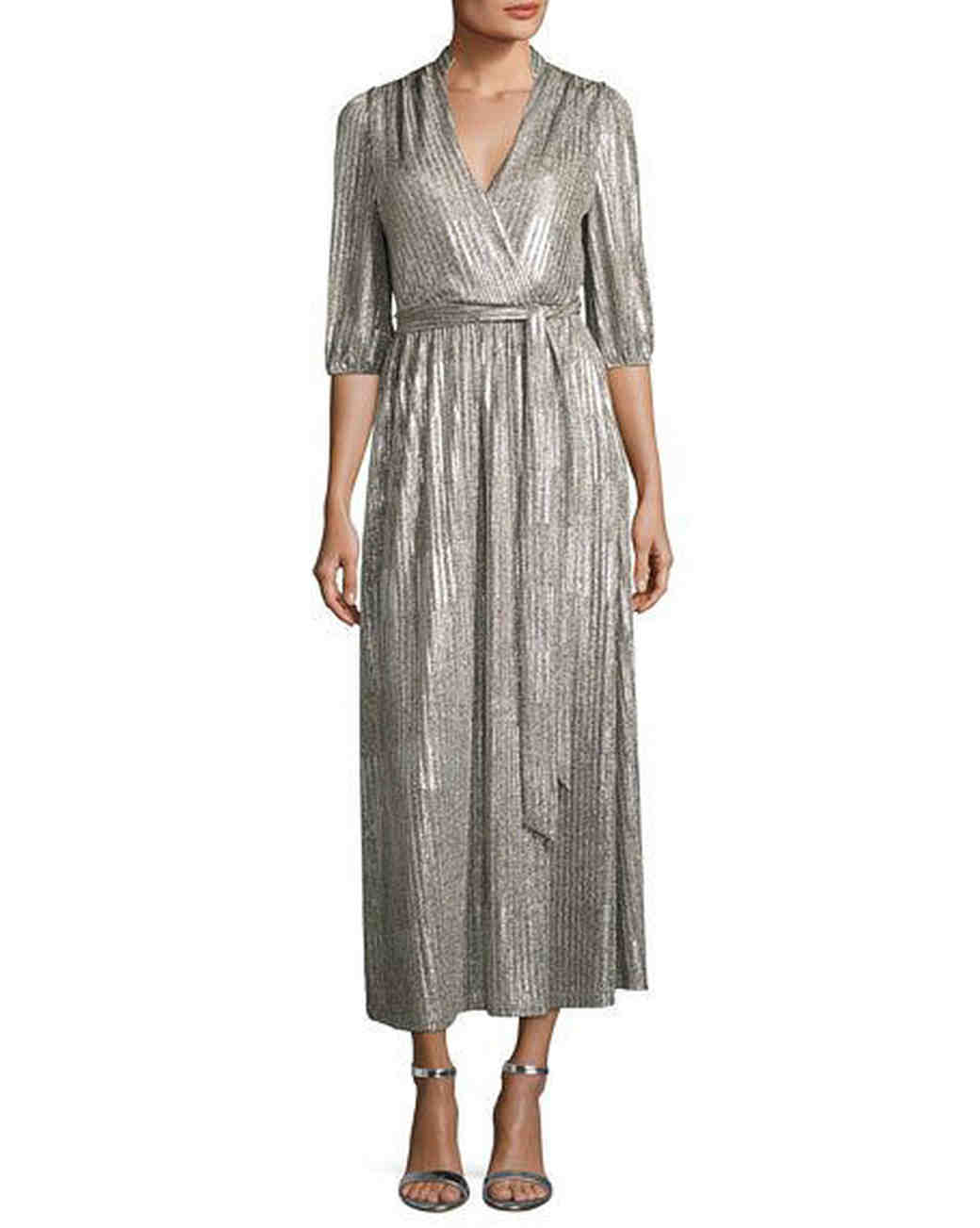 silver long sleeve wrap dress