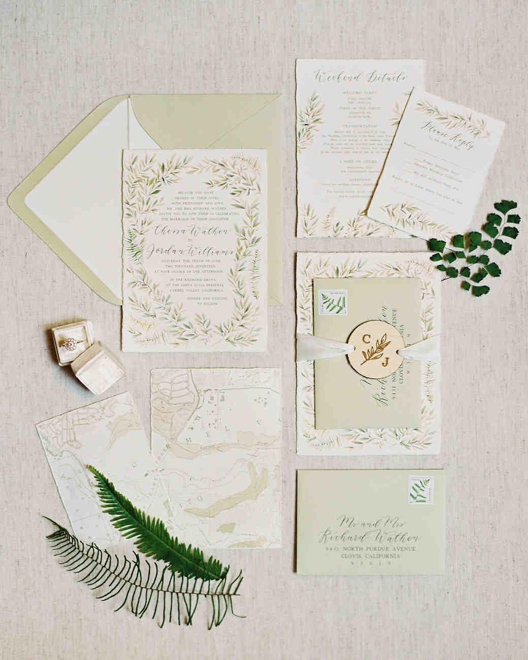 light green invitation suite