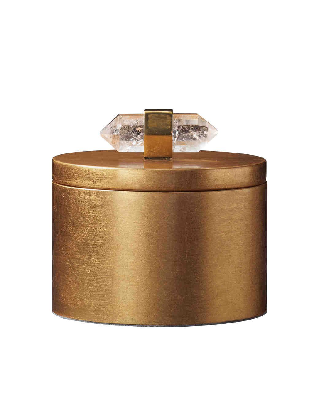 Gold Metallic Leaf Round Box
