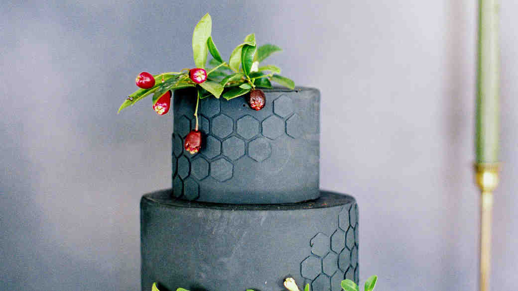 Honeycomb Wedding Inspiration, Wedding Cake with Honeycomb Motif