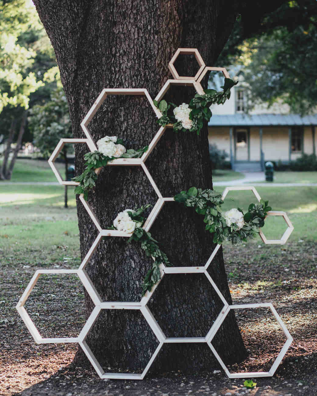 Honeycomb Wedding Inspiration, Ceremony Backdrop with Flowers