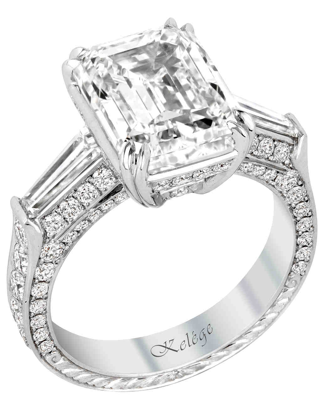 elegant emerald cut engagement rings martha stewart weddings - Wedding Ring Cuts