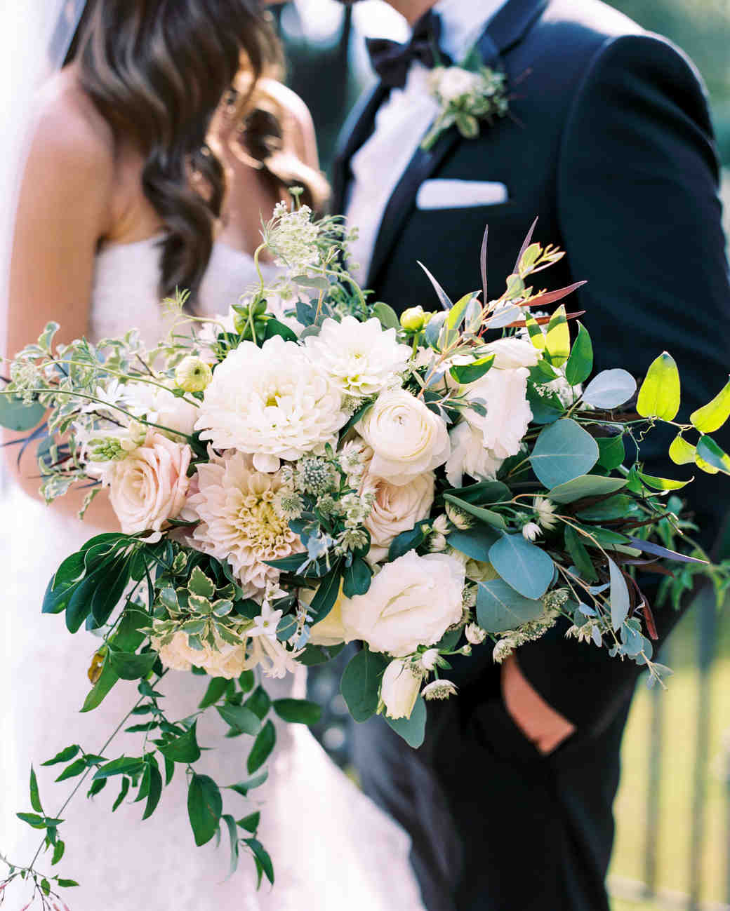 Overflowing Bridal Bouquet with Greenery and Neutral Flowers