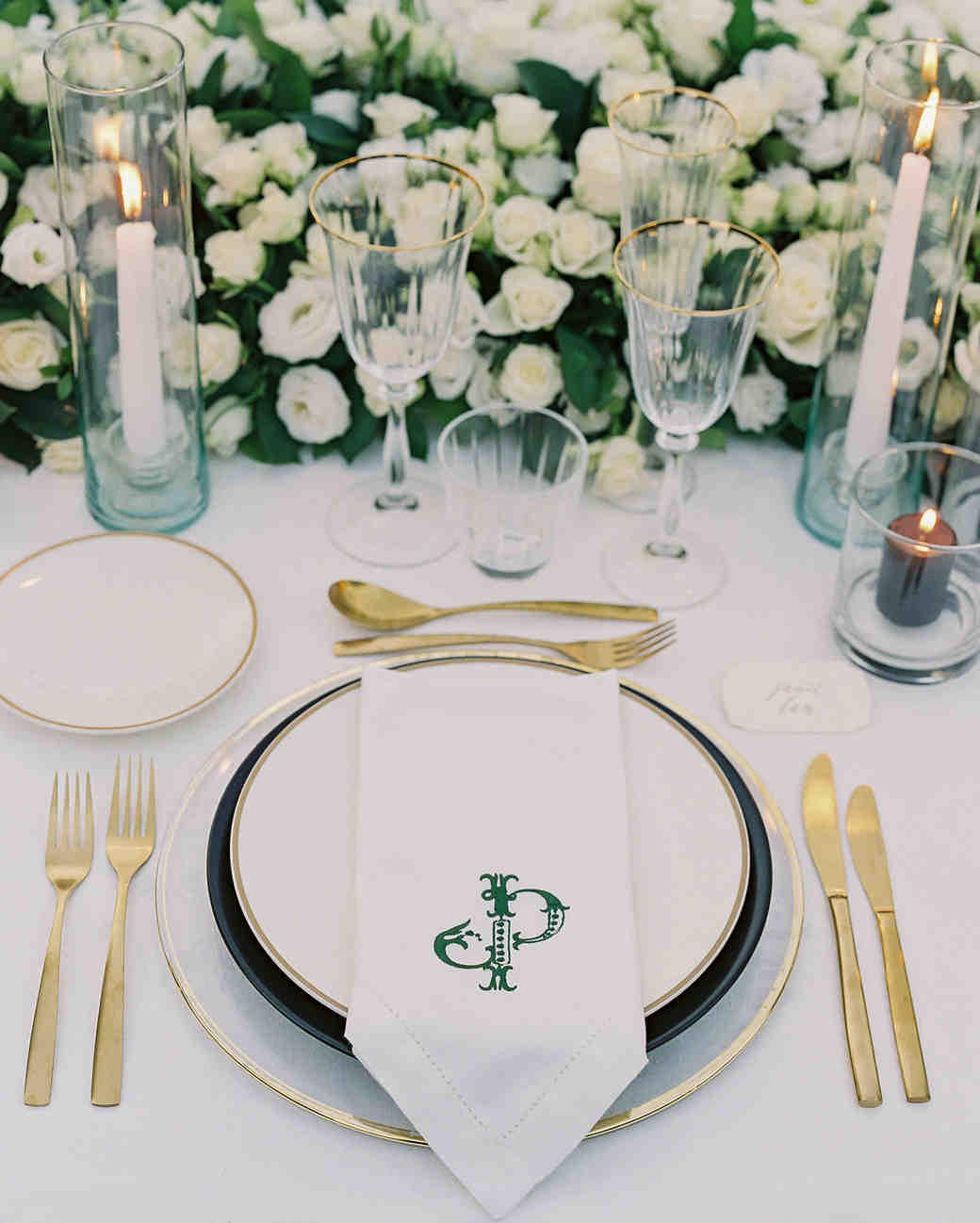 janet patrick wedding place setting with gold silverware