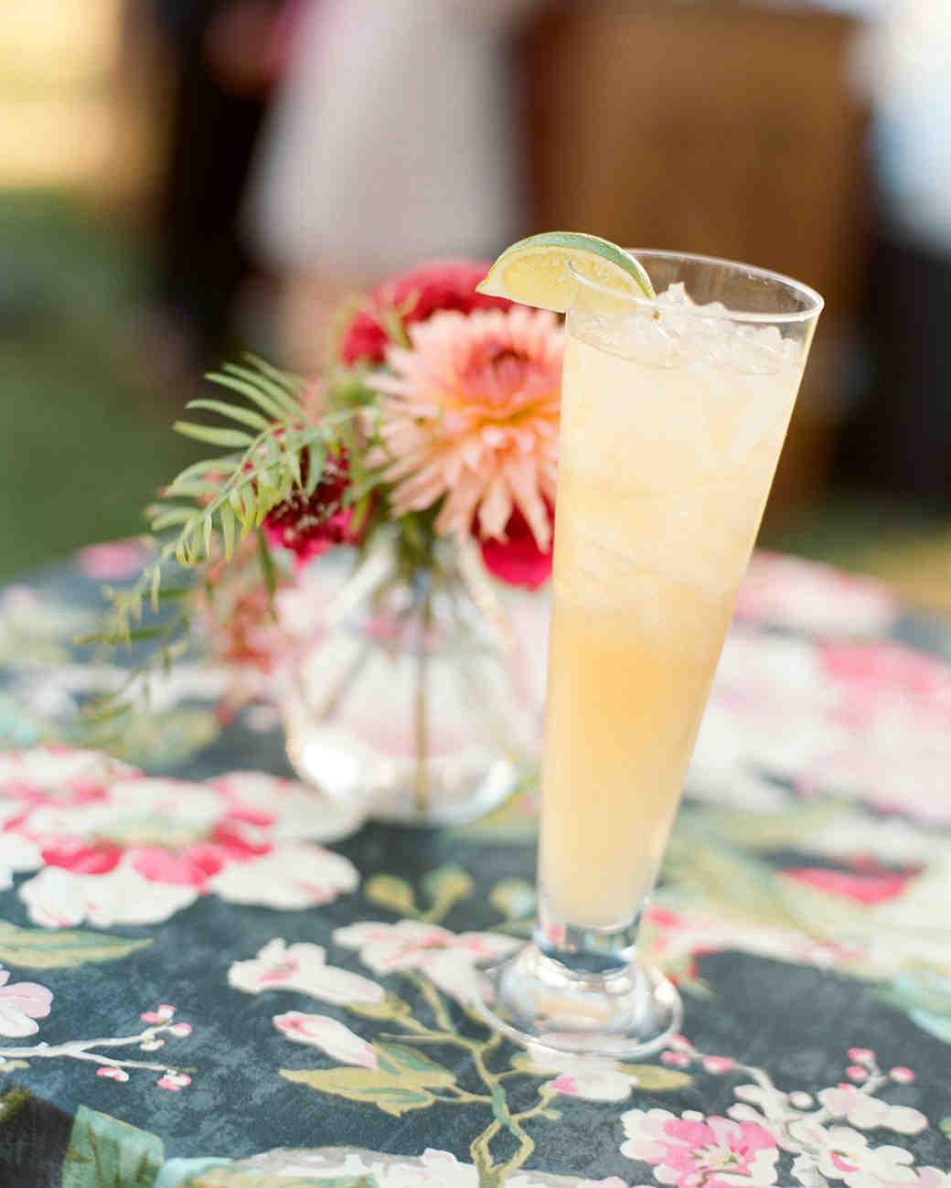jen geoff wedding cocktail on table