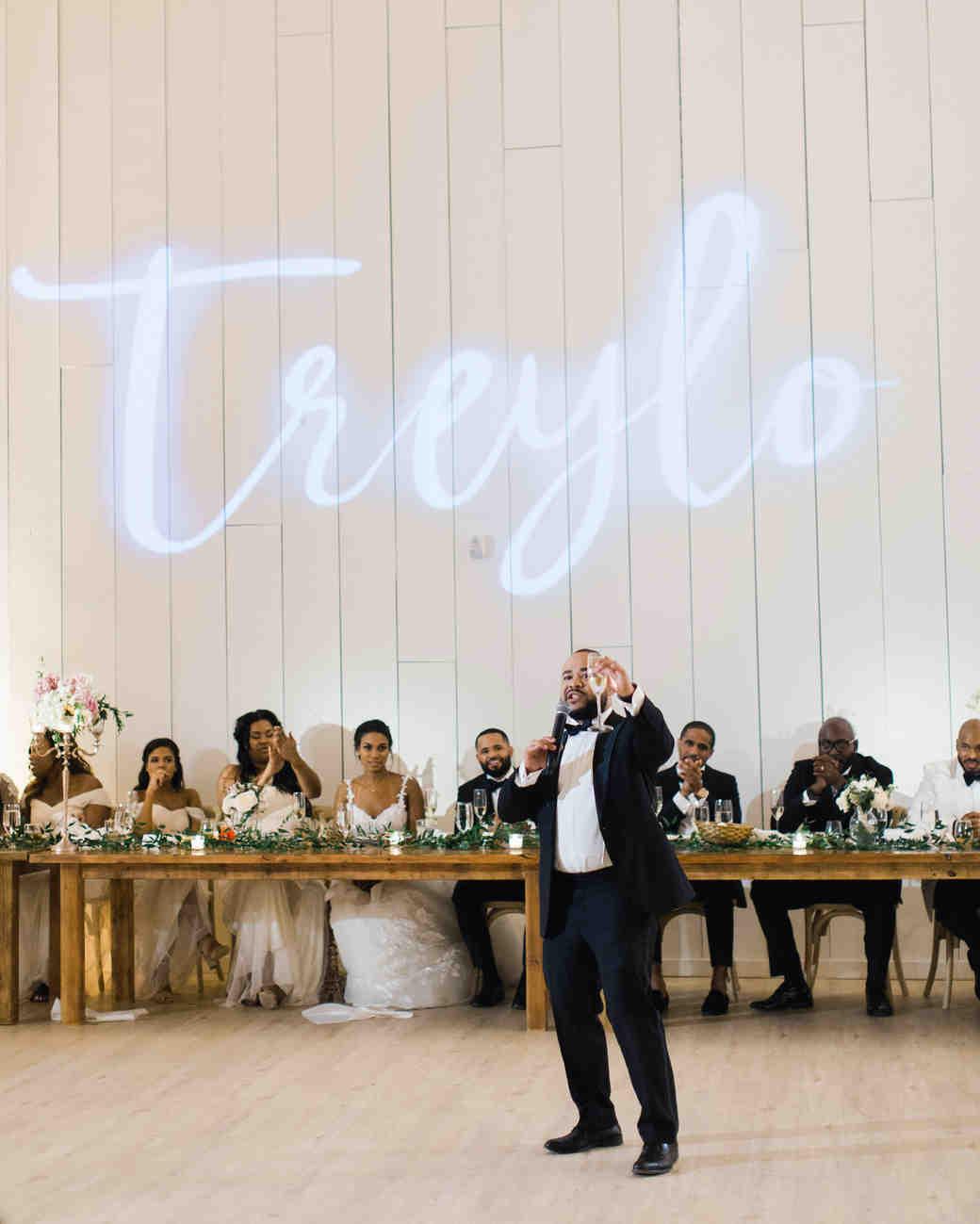wedding best man toast name on wall